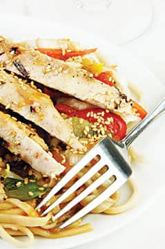 Smoked Chicken with Sesame Noodles
