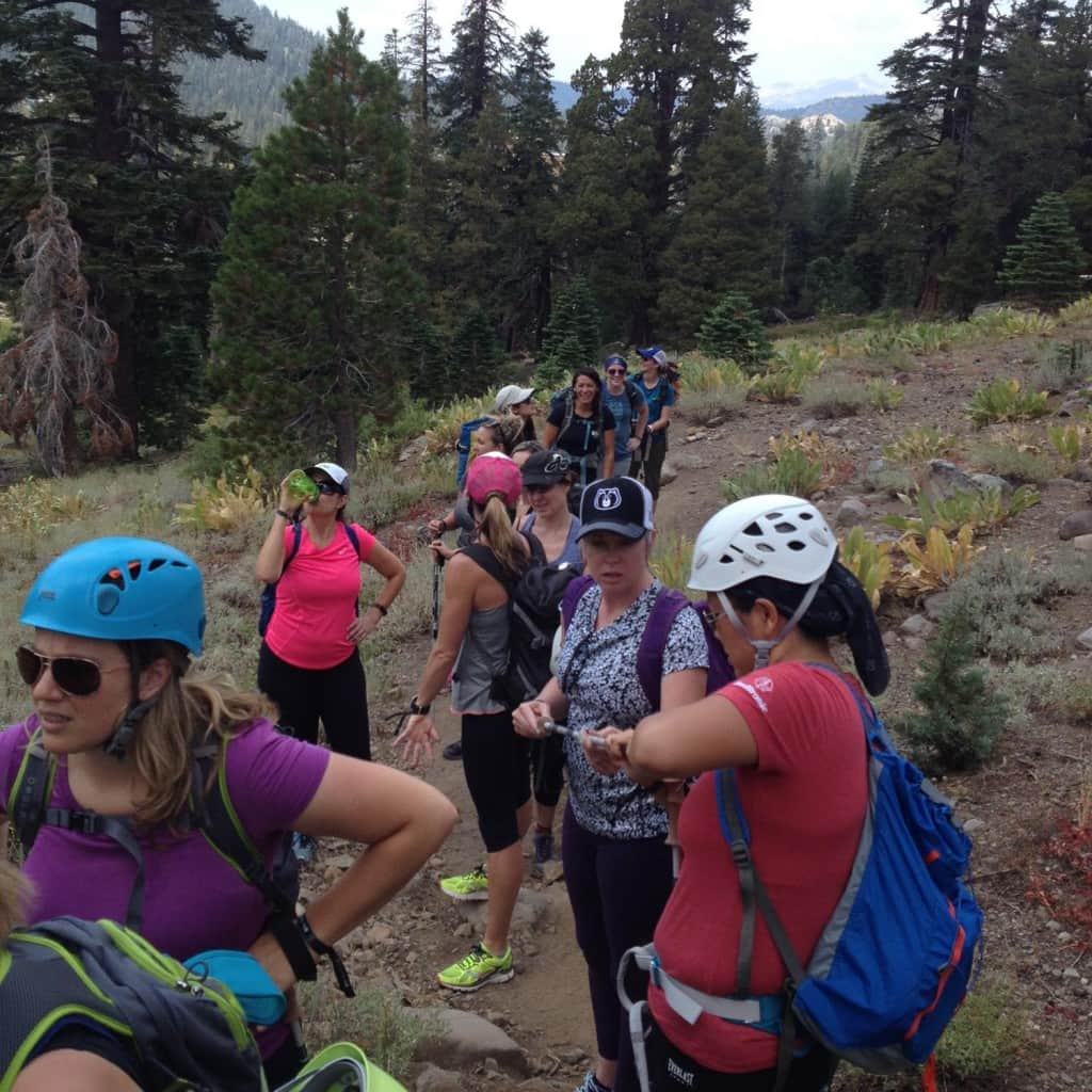 A group of beginner and more advanced climbers head out to learn new skills.