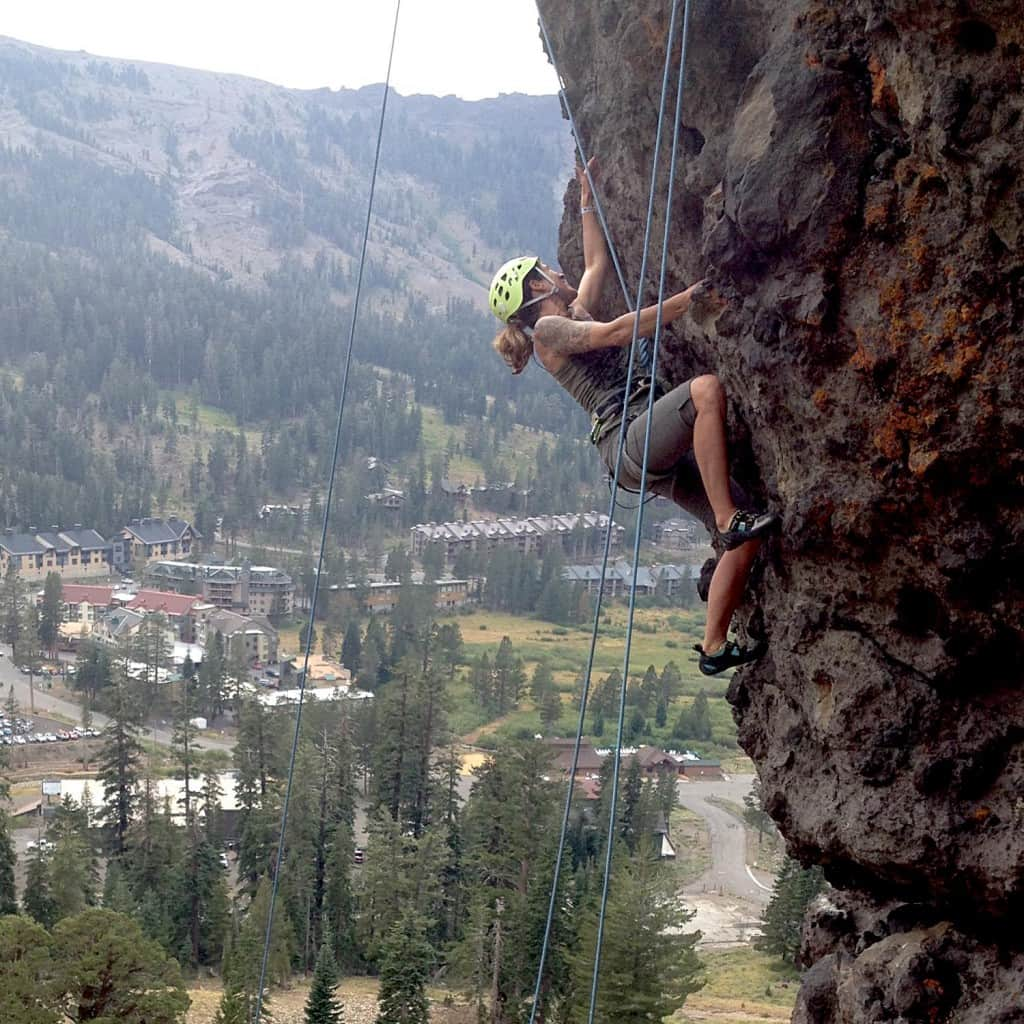 Author Alyssa Ganong during the intermediate/advanced climbing clinic at Rainbow Crags at Kirkwood Mountain Resort.